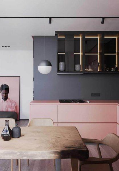 Decoração para cozinha moderna nas cores rosa e cinza flanela