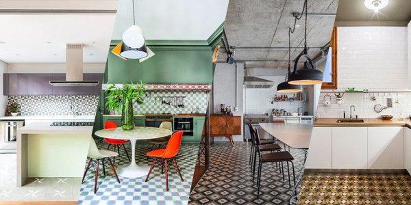 Dica do dia: cozinha integrada com piso geométrico